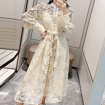 QueenLine Midi Dress Luxury Elegant A-Line Party Belt Hollow Out Lace Embroidery Dresses Women 2021 Spring Long Sleeve Vintage