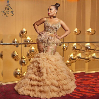 QueenLine Sexy See Through Prom Dresses Plus Size Lace Tiered Gold Evening Gowns with Feathers vestido de novia Party Celebrity Dress