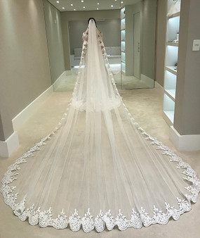QueenLine White Ivory 4 Meters Long Full Edge Lace Wedding Veil One Layer Tulle Bridal Veil with Comb Wedding Accessories Veu De Noiva|Bridal Veils