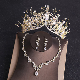 QueenLine Costume Bridal Jewelry Sets Rhinestone Crystal Gold Tiara Crown Earrings Necklace Wedding Bride Luxury Jewelry Set|Jewelry Sets