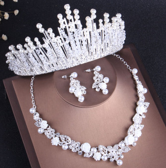 QueenLine Luxury Crystal Pearl Bridal Jewelry Sets Rhinestone Choker Tiara Nigerian African Beads Necklaces Earrings Wedding Jewelry Set|Bridal Jewelry Sets