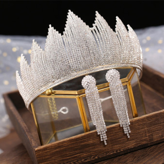 QueenLine Baroque Silver Color Crystal Bridal Tiaras Crown With Earrings Rhinestone Pageant Diadem Luxury Wedding Hair Accessories Bijoux|Hair Jewelry