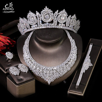 QueenLine Luxury Cubic Zirconia Necklace, Bracelet, Earrings, Ring 4 Pieces and Crown Ladies Jewelry, Bridal Wedding Dinner Accessories|Bridal Jewelry Sets
