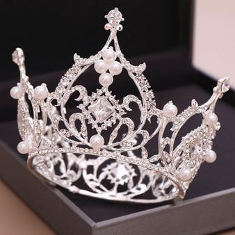 QueenLine Luxury Large Full Circle Rhinestones Queen Princess Tiara and Crown Pearl Bride Headpiece Wedding Hair Jewelry Accessories XH Hair Jewelry