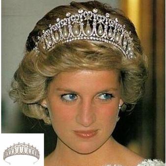 QueenLine GB Bridal Crown Diana Princess Same Model Pearl tear Crown Rhinestone Pearl Drop Hair Accessories Wedding Accessories Hair Clip Hair Jewelry
