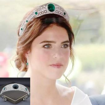 QueenLine Royal Vintage Green Rhinestone Opal Crown Bridal Headdress Princess Diadem Crystal Tiaras Wedding Hair Accessories Jewelry Hair Jewelry