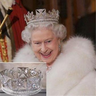 QueenLine Luxury Bridal Queen Elizabeth Crown European Baroque Crown Headdress Wedding Hair Accessories Beauty Hair Clips Royal Crowns Hair Jewelry