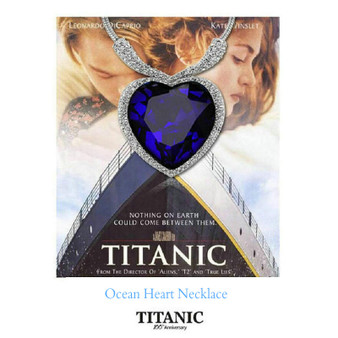 QueenLine Titanic Rose Ocean Heart Pendant Crystal Necklace Female Short Clavicle Necklace 5CT Crystal Gem Stone Pendant Lover Necklace|Pendant Necklaces