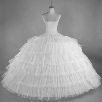 QueenLine White Tulle 6 Hoops Petticoats for Wedding Dress Plus Size Fluffy Woman Ball Gown Underskirt Crinoline Pettycoat Hoop Skirt Petticoat