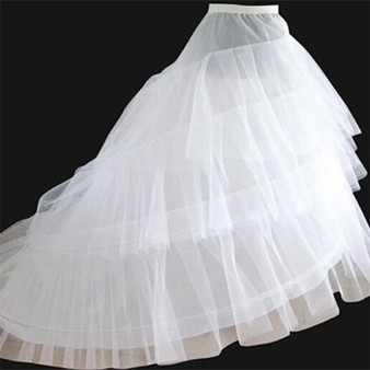 QueenLine High Quality White Petticoat Train Crinoline Underskirt 3 Layers 2 Hoops For Wedding Dresses Bridal Gowns Petticoats