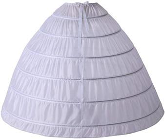 QueenLine Women's Dome Shape 6 Hoop Petticoats Floor Length Underskirt Slip Crinoline for Ball Gown Wedding Dress|Petticoats
