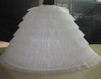 QueenLine 6 Hoops 6 Tulle Tulle White Super Puffy Big Long Petticoats Ball Gown Wedding Dresses Crinoline Adult Women Petticoat 120cm|Petticoats|