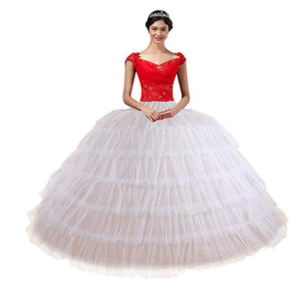 QueenLine White Petticoats for Wedding Dress 6 Hoops 6 Layers Tulle Adjustable Ball Gown Prom Crinolina Vestido De Novia|Petticoats|