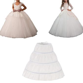 QueenLine White Children Petticoat A Line 3 Hoops One Layer Kids Crinoline Lace Trim Flower Girl Dress Underskirt Elastic Waist Cheap|Petticoats|