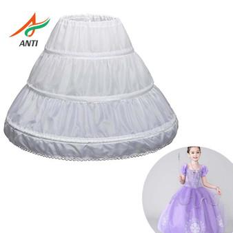 QueenLine White Children Petticoat A Line 3 Hoops One Layer Kids Crinoline Lace Trim Flower Girl Dress Underskirt Waist Elastic Cheap|Petticoats|