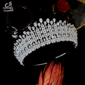 QueenLine Shiny CZ Headdress Bride Crowns Wedding Hair Accessories 16 Year Old Adult Gift Princess Crown, Party Tiaras A01045|Hair Jewelry|