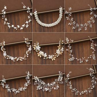 QueenLine Bridal Headbands Wedding Hair Accessories Tiara Rhinestone Pearl Headband Women Hair Jewelry Bride Headbands Handmade Accesories|Hair Jewelry|