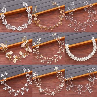 QueenLine Bridal Headbands Wedding Hair Accessories Rhinestone Pearl Headband Women Hair Jewelry Bride Tiara Headbands Woman's Accesories|Hair Jewelry|