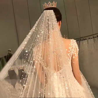 QueenLine Bling Bling Rhinestone Beaded Bridal Long Wedding Veil Middle East Dubai Bride's Headdress Cathedral Veils With Comb Luxury|Bridal Veils|