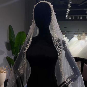 QueenLine New Design Bridal Veils With Pearls|Bridal Veils|