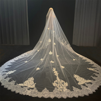 QueenLine Stock Ready veil 400cm long with lace wedding veils|Bridal Veils|