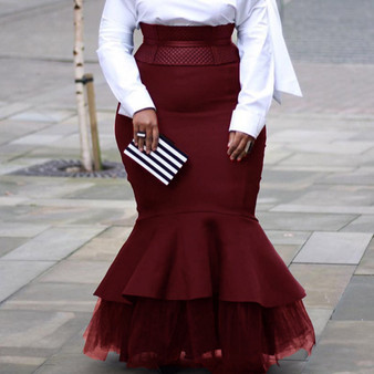 QueenLine Autumn Winter Women Long Skirts Vintage Burgundy Evening Party African Ladies High Waist Mesh Patchwork Mermaid Skirt Plus Size