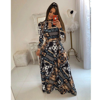QueenLine Women Autumn Floral Print Maxi Dress Boho Style Long Beach Dresses Evening Party Long Bandage Bodycon Dress Plus Size Vestidos