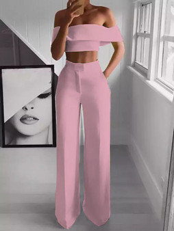 QueenLine Sexy Off the Shoulder Cropped Top High Waist Wide Leg Pants Set Bell-bottom Trousers 2019 Sexy Solid Women Clothes 2 Pieces Set