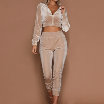 QueenLine Women Tracksuit Zipper Hoodies Sweatshirt Pants 2 Pieces Set Fashion 2018 Female Cropped Top Pullover And Trousers Suits