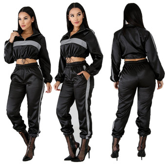 QueenLine 2 Two Piece Set Sportwear 2019 Autumn Reflective Tracksuit Women Clothes Black Crop Top + Pants Sweat Suit Outfits Matching Sets
