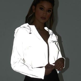 QueenLine Flash Reflective Jacket Women Short Hooded Coat Night Glowing Short Jacket Front Zipper Female Reflective Hooded Jacket