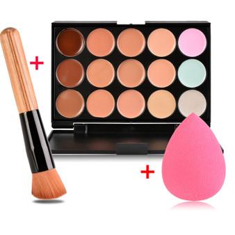 QueenLine New Face Concealer Makeup Palette +Brushes +Puff Face Base Foundation Bronzer Concealer Contour Pallete Make Up Cosmetics Set