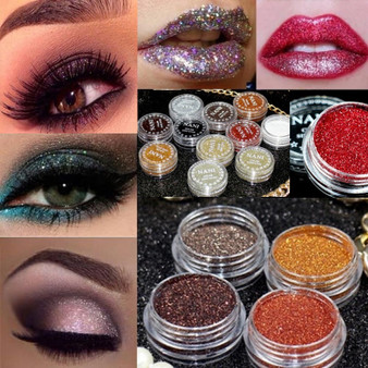 QueenLine 24 Colors Cosmetics Eyes Lip Face Makeup Glitter Shimmer Powder Monochrome Eyes Baby Bride Pearl Powder Glitters Shining Make up