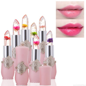 QueenLine Flower Crystal Jelly Lipstick Magic Temperature Color Changing Lip Balm Moisturizing Long Lasting Beauty Lipstick Makeup TSLM1