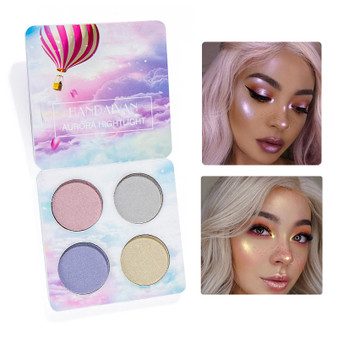 QueenLine Shiny Highlighter Powder 4 color Facial iluminador Palette Double Use Eye shadow Palette Bronzer Powder Cosmetic Set