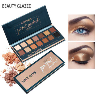 QueenLine Beauty Glazed 14 Color Makeup Eyeshadow Palette Shimmer Matte Pigmented Smokey Eye Shadow Palette Long-lasting Cosmetics TSLM2