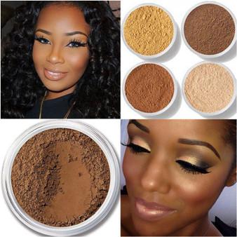 QueenLine Makeup Loose Setting Powder Matte Mineral Oil-control Long-lasting Face Concealer Finishing Bronzer Contour For Black Dark Skin