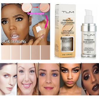 QueenLine Color Changing Liquid Foundation Make-Up Change To Your Skin Tone By Simply Blending Primer Makeup Base Maquiagem TSLM1