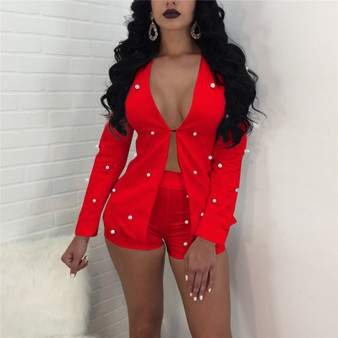 QueenLine Pearls Accent Women Office Business Suits Cardigan Blazer Coat And Shorts Suit Slim Full Sleeve Two Piece Set Club Wear Outfits