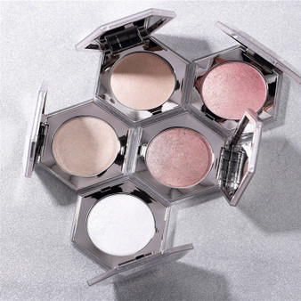 QueenLine Hot Facial body soft Highlighter Bronzers Palette Glow 5 color Face Contour Highlight Shimmer Powder Diamond Bomb Champagne gold