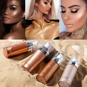 QueenLine Makeup Face Highlighter Long Lasting Iluminador Brighten Body Shimmer Shiny Brown Bronzer Facial Highlight Make Up Highliter