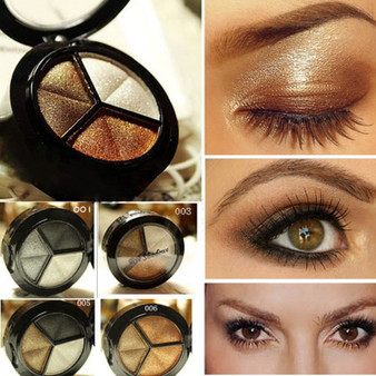 QueenLine Smoky Eyeshadow Pallet Makeup 3 Colors Natural Matte Eye Shadow Palette Nude Eye Shadow Glitter with Brush