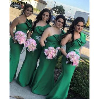 QueenLine New Green One Shoulder Bridesmaid Dresses Sheer Mesh Pleats Floor Length Elastic Satin Wedding Guest Maid Of Honor Dress
