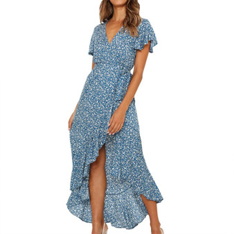 QueenLine Summer Long Maxi Dress Women Casual Boho Floral Print Chiffon Beach Dress Sexy V-Neck Ruffles Bodycon Wrap High Slit Party Dress