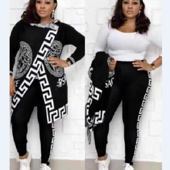 QueenLine 2020 Autumn Winter 2 Piece Set Women Hoodie Pants Printed Tracksuit Pullover Sweatshirt Trousers With Pockets Tracksuit Suits