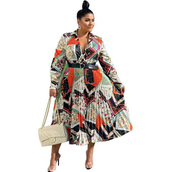 QueenLine 2019 African Clothing Best Quality New Office Lady Plus Size Women Dress Print Turn-down Collar Full Sleeve Ladies Midi Dress