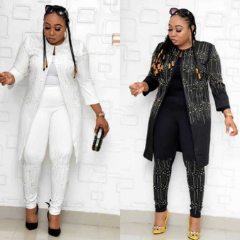 QueenLine 2020 African Sets For Women New Sequined African Elastic Bazin Baggy Pants Rock Style Dashiki Sleeve Famous Suit For Lady