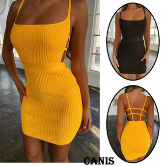 QueenLine Summer Sexy Bandage Hollow Out Dress Women Fashion Sleeveless Backless Bodycon Party Club Dress Mini Wrap Dress
