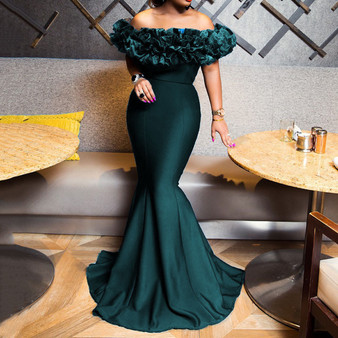 QueenLine Sexy Off Shoulder Long Evening Party Dress Women Blue Bodycon Mermaid  Prom Dress Maxi African 2020 Summer Red Elegant Dresses