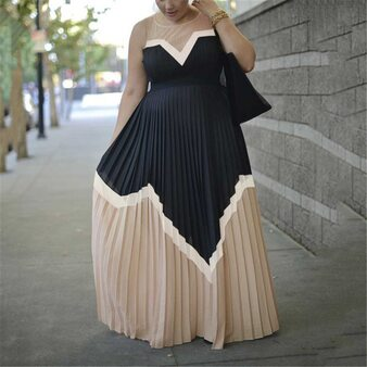 QueenLine Summer Vintage Sexy Office Ladies Plus Size Women Long Dresses High Waist Pleated Retro Elegant Dinner Party Female Maxi Dress